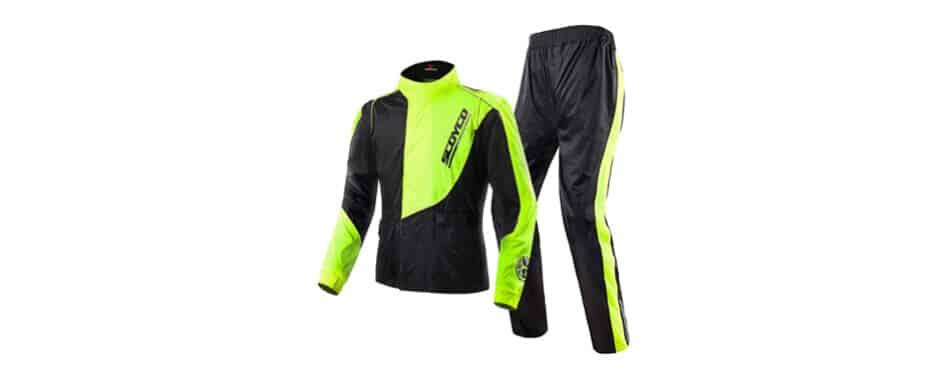 scoyco motocicleta chaqueta de lluvia pantalones conjunto equipo de protección