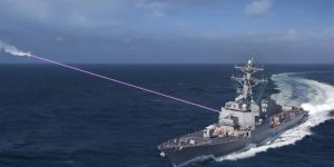 Artist rendering of a US Navy laser disabling a drone