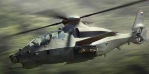 Bell Invictus fighter helicopter rendered in flight