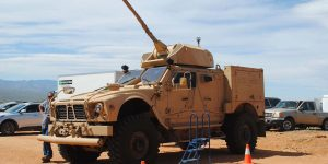 Light armored vehicle with Bushmaster chain gun