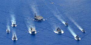 uss reagan trilateral exercise formation USS Reagan realiza operaciones conjuntas con Australia y Japón en el mar de Filipinas