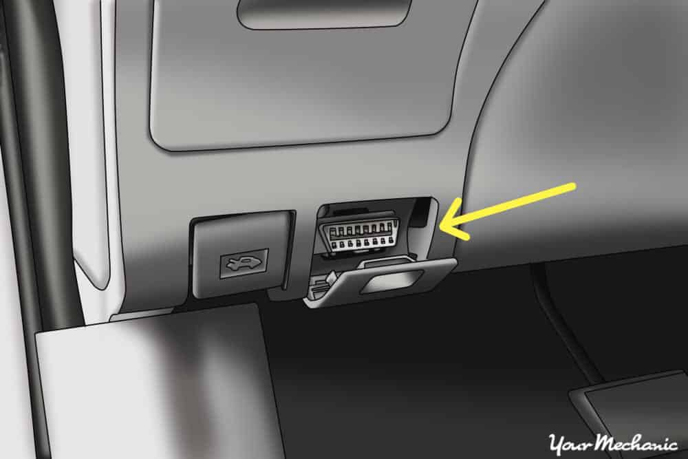 OBD port on the bottom of the glove compartment