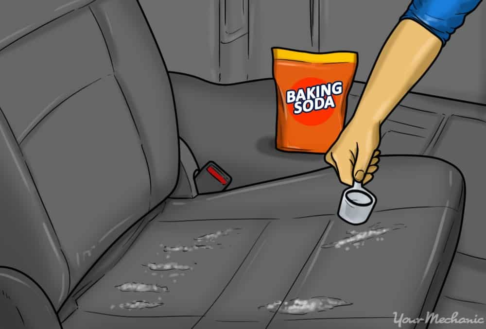 baking soda applied to a car seat