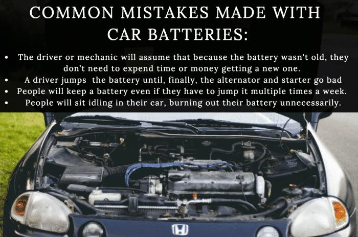 Conozca los errores más comunes que las personas cometen con las baterías de sus automóviles.