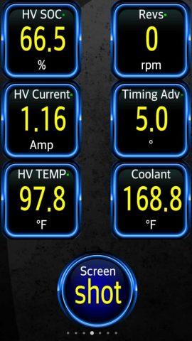 1,16 amperios es mi lectura de referencia de la cantidad de corriente que se extrae de la batería de alto voltaje para alimentar el automóvil mientras el motor está parado.