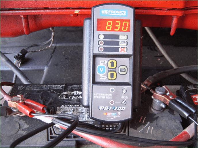 Los resultados marginales (débiles) muestran 830 amperios de una batería de 950 CCA.