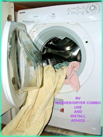 Información sobre la instalación y el uso de una unidad combinada de lavadora / secadora para vehículos recreativos.