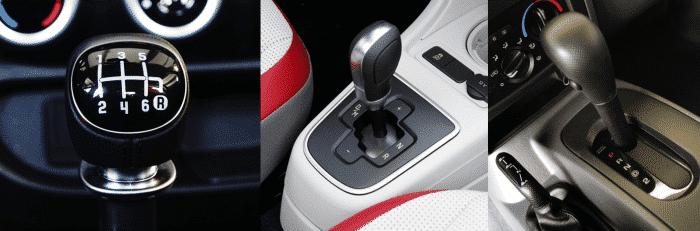 El diseño típico de la palanca de izquierda a derecha: manual, semiautomático, automático