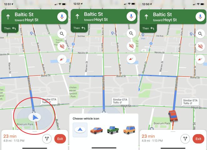 capturas de pantalla de cómo cambiar el icono del coche que aparece en la aplicación de mapas de Google
