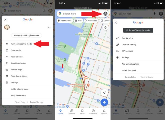 modo incógnito dentro de la aplicación ios de google maps