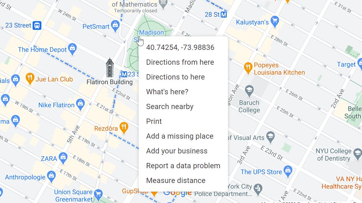 menú que aparece al hacer clic con el botón derecho en el escritorio de Google Maps