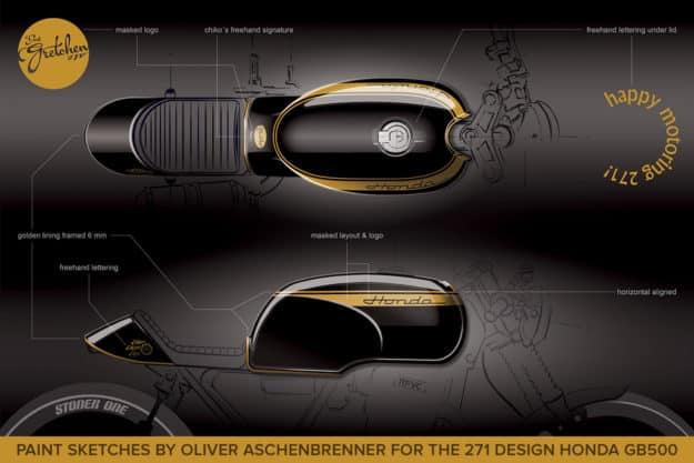 Oliver Aschenbrenner's paint sketches for the 271 Design Honda GB500