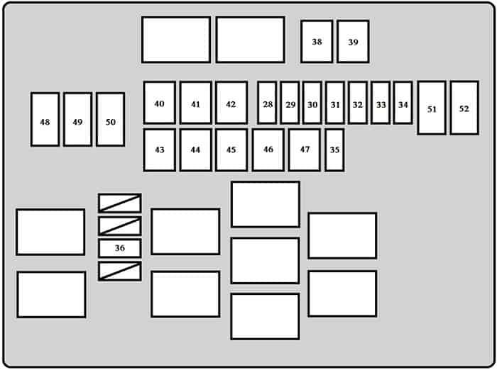 Caja de fusibles №2 (lado izquierdo del vehículo): Toyota Dyna (2011, 2012, 2013, 2014, 2015, 2016, 2017, 2018)