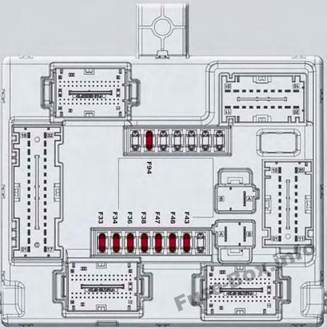 Esquema del circuito interior de la caja de fusibles: Alfa Romeo Giulia (952; 2017, 2018- ..)