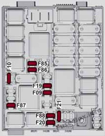 Diagrama de la caja de fusibles (caja de fusibles del compartimento del motor): Alfa Romeo Giulietta (940; 2014, 2015, 2016, 2017, 2018)