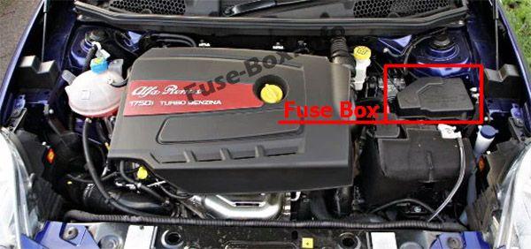Ubicación de los fusibles en el compartimento del motor: Alfa Romeo Giulietta (940; 2014, 2015, 2016, 2017, 2018)