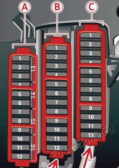 Diagrama de la caja de fusibles (panel de instrumentos izquierdo): Audi Q5 (8R; 2009, 2010, 2011, 2012)