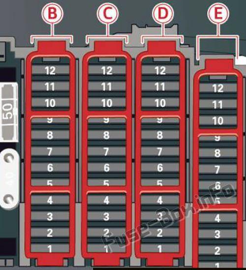 Caja de fusibles (maletero): Audi Q5 (8R; 2009, 2010, 2011, 2012)