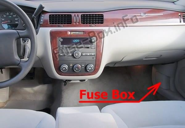 Ubicación de los fusibles en el habitáculo: Chevrolet Impala (2006-2013)