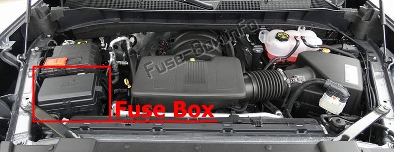 La ubicación de los fusibles en el compartimiento del motor: Chevrolet Silverado (2019)