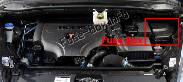Ubicación de los fusibles en el compartimento del motor: Citroen C4 Picasso I (2007-2012)