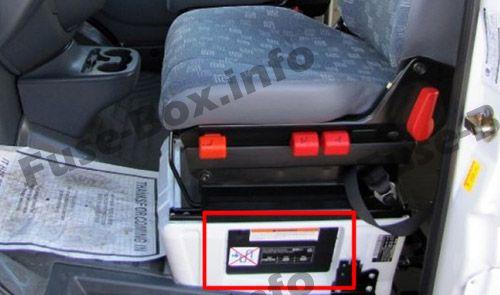 Caja de fusibles debajo del asiento del conductor (ubicación): Dodge Sprinter (2002, 2003, 2004, 2005, 2006)