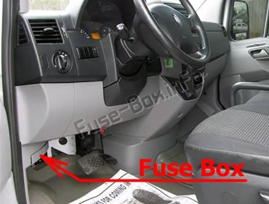 Ubicación de los fusibles en el habitáculo: Dodge Sprinter (2007-2010)