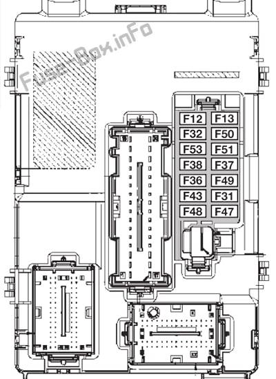 Schéma de la boîte à fusibles du tableau de bord - Fiat 500 / 500C (2012, 2013)