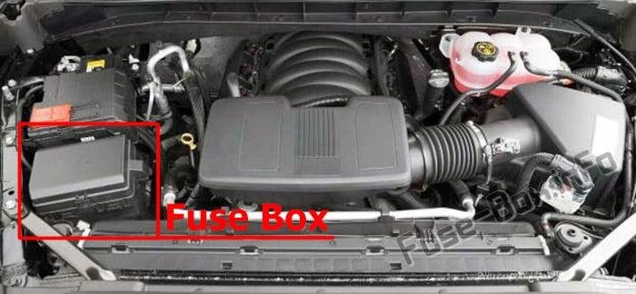 La ubicación de los fusibles en el compartimento del motor: GMC Sierra (2019 ..)