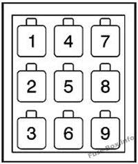 Bloque de relés A: GMC T6500, T7500, T8500 (2003, 2004, 2005, 2006, 2007, 2008, 2009, 2010)