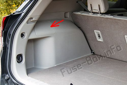 La ubicación de los fusibles en el maletero: GMC Terrain (2018, 2019 -...)