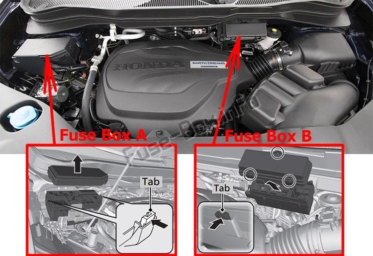 La ubicación de los fusibles en el compartimento del motor: Honda Passport (2019- ..)