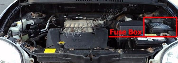 Ubicación de los fusibles en el compartimiento del motor: Hyundai Santa Fe (SM; 2001-2006)