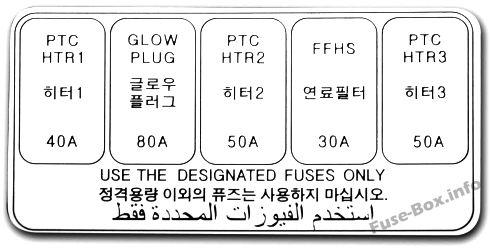 Panneau de fusibles supplémentaires (Diesel): KIA Rio (2006, 2007, 2008, 2009, 2010, 2011)