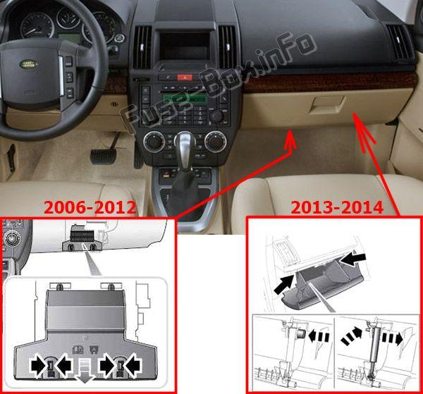 Ubicación de los fusibles en el habitáculo: Land Rover Freelander 2 / LR2 (2006-2015)