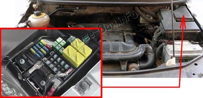 Ubicación de los fusibles en el compartimento del motor: Land Rover Freelander (L314; 2003-2006)