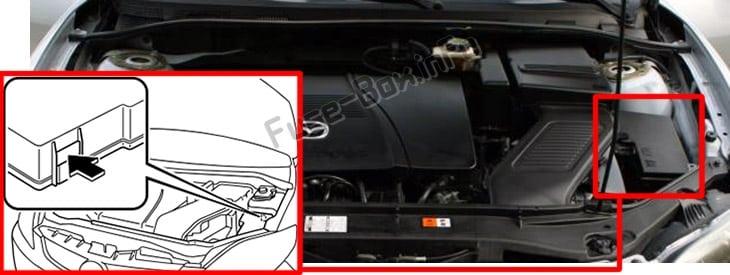 Ubicación de los fusibles en el compartimento del motor: Mazda 5 (2006-2010)