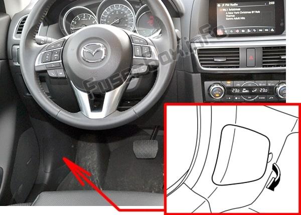 Ubicación de los fusibles en el habitáculo: Mazda CX-5 (2013-2016)