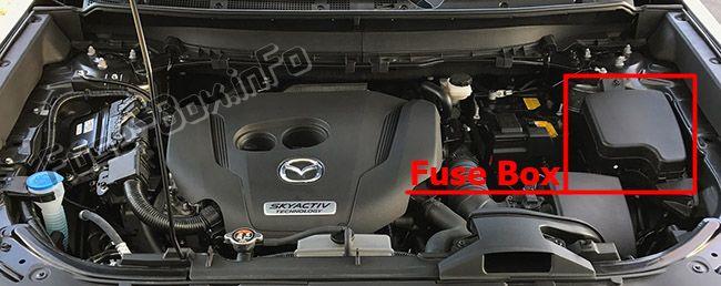 La ubicación de los fusibles en el compartimiento del motor: Mazda CX-9 (2016-2019 -...)