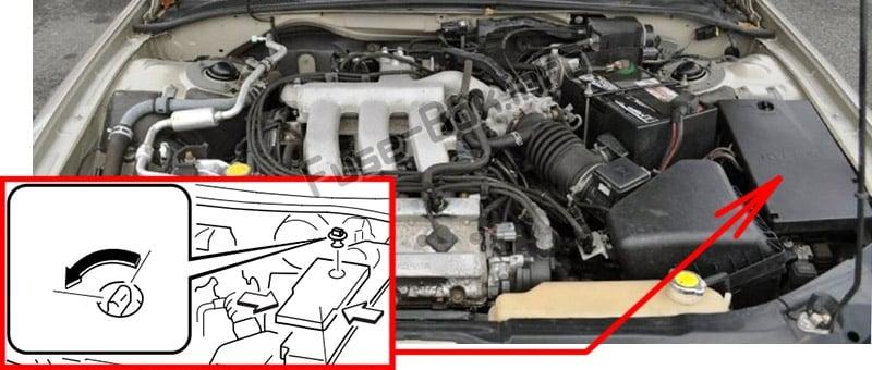 Ubicación de los fusibles en el compartimento del motor: Mazda Millenia (2000, 2001, 2002)