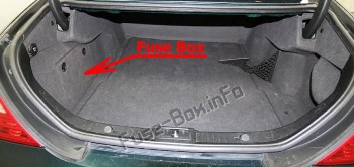 Ubicación de los fusibles en el maletero: Mercedes-Benz CLS-Class (W219; 2004-2010)