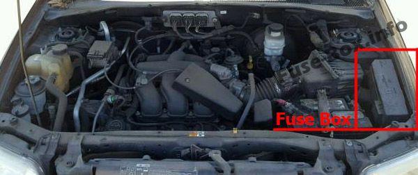 Ubicación de los fusibles del compartimento del motor: Mercury Mariner (2005, 2006, 2007)