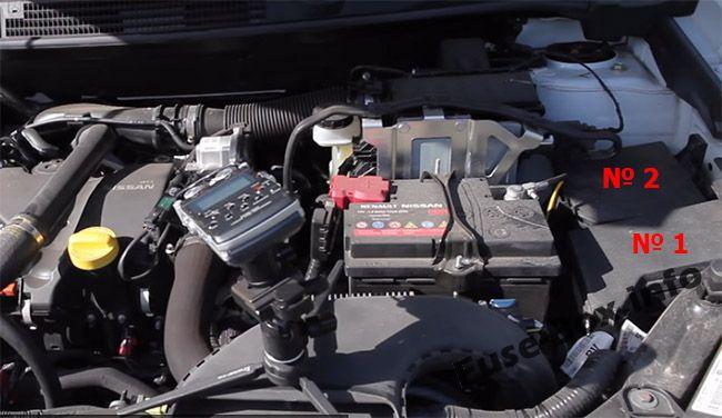 Ubicación de los fusibles en el compartimento del motor: Nissan Qashqai / Qashqai + 2 (2007-2013)