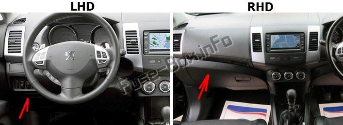 Ubicación de los fusibles en el habitáculo: Peugeot 4007 (2007-2012)
