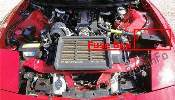Ubicación de los fusibles en el compartimento del motor: Pontiac Firebird (1992-1997)
