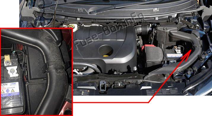 Ubicación de los fusibles en el compartimento del motor: Renault Kadjar (2015-2019)