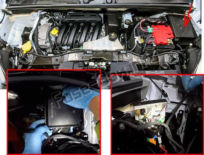 La ubicación de los fusibles en el compartimento del motor: Renault Kangoo II (2007-2018)