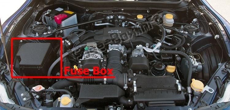 Ubicación de los fusibles en el compartimento del motor: Scion FR-S (2012-2016)