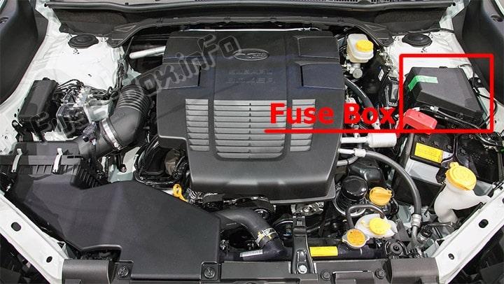 La ubicación de los fusibles en el compartimiento del motor: Subaru Forester (SK; 2019- ..)