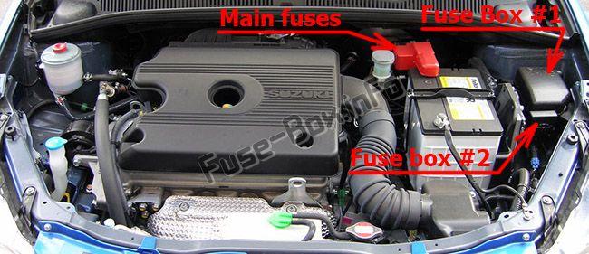 Ubicación de los fusibles en el compartimento del motor (diésel): Suzuki SX4 (2006-2014)